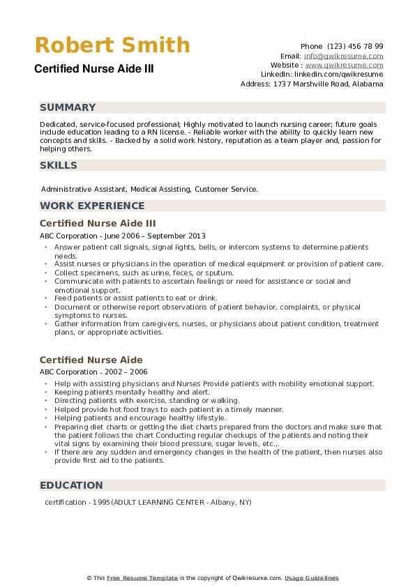 Certified Nurse Aide III Resume Format