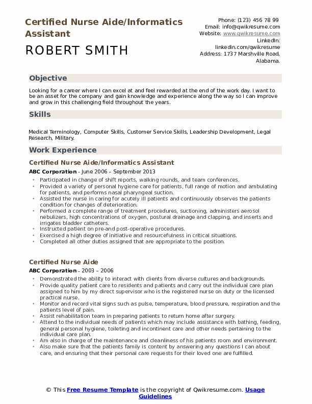 Certified Nurse Aide/Informatics Assistant Resume Model