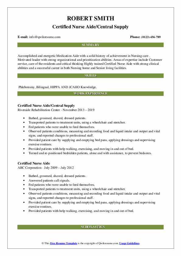 Certified Nurse Aide/Central Supply Resume Sample
