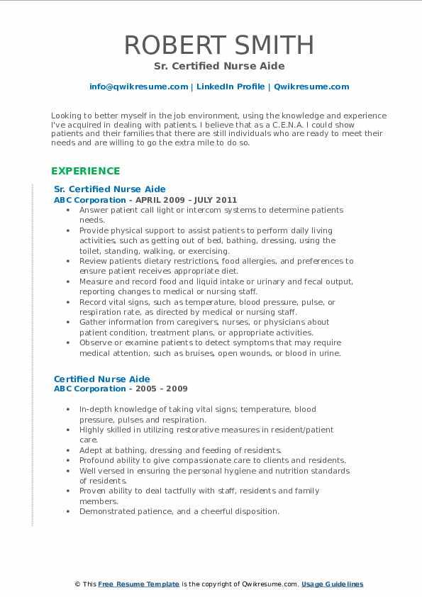 Sr. Certified Nurse Aide Resume Model