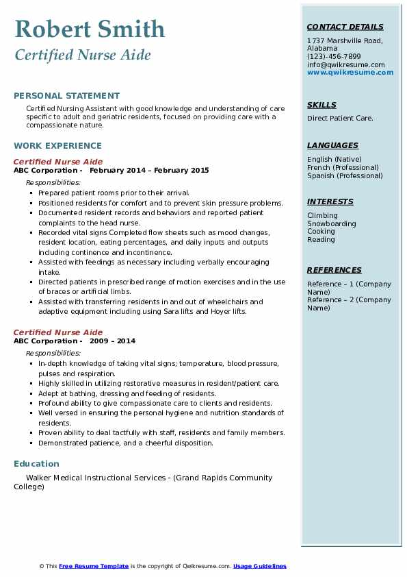 Certified Nurse Aide Resume Samples Qwikresume