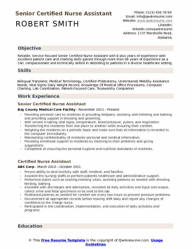 Senior Certified Nurse Assistant Resume Sample