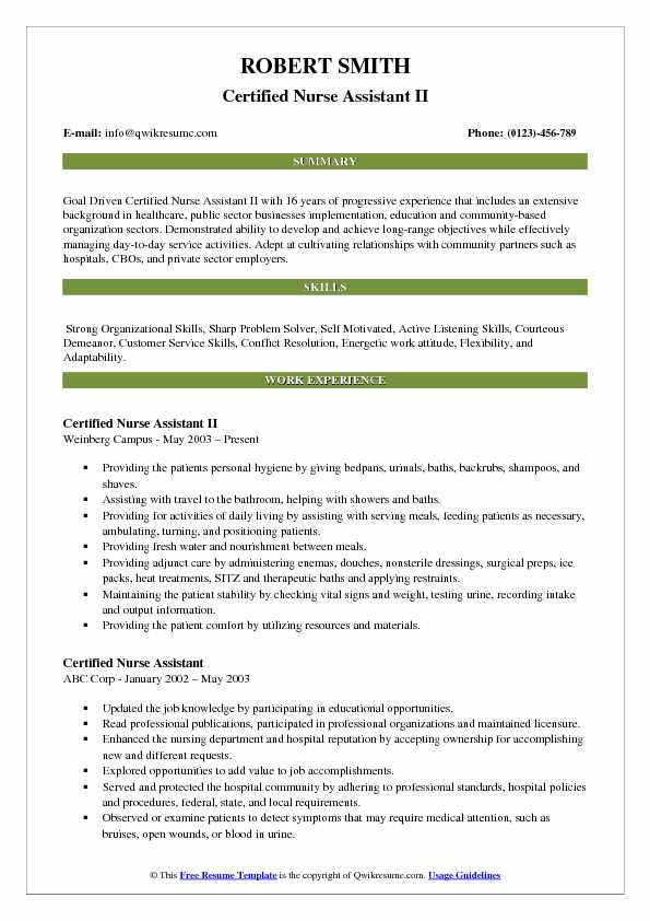 Certified Nurse Assistant II Resume Example