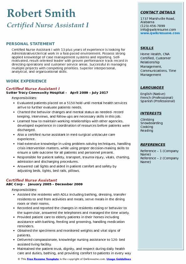 Certified Nurse Assistant I Resume Example