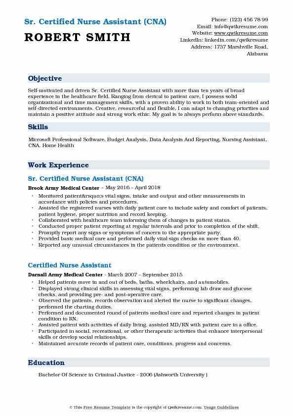 Sr. Certified Nurse Assistant (CNA) Resume Template