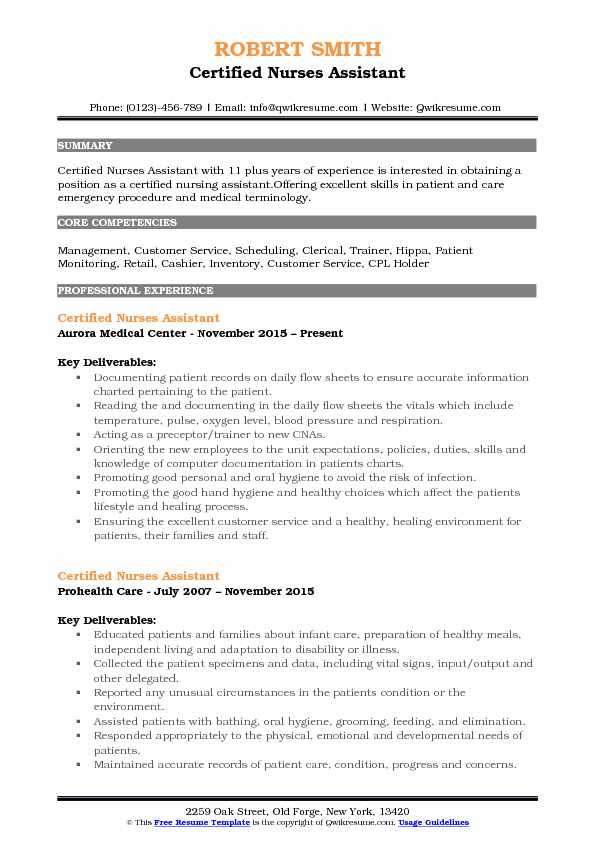 Certified Nurses Assistant Resume Template