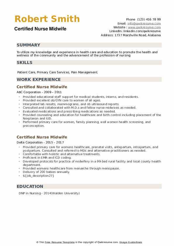 Certified Nurse Midwife Resume example