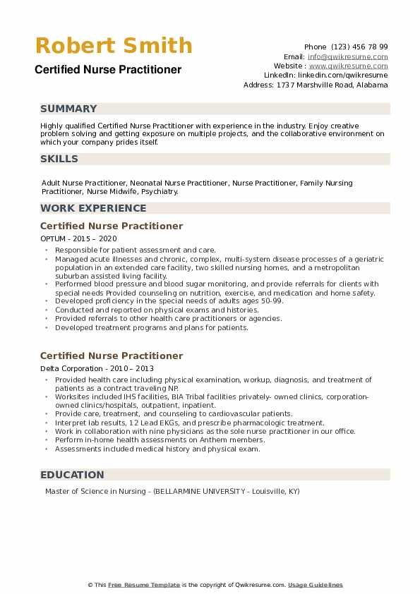 Certified Nurse Practitioner Resume example