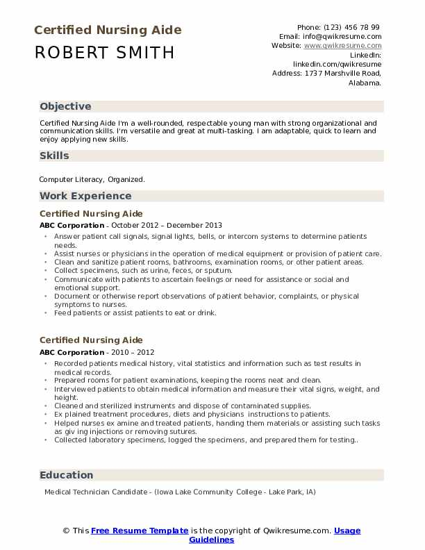 Certified Nursing Aide Resume Samples | QwikResume