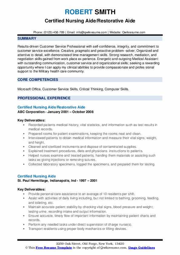 Certified Nursing Aide/Restorative Aide Resume Sample