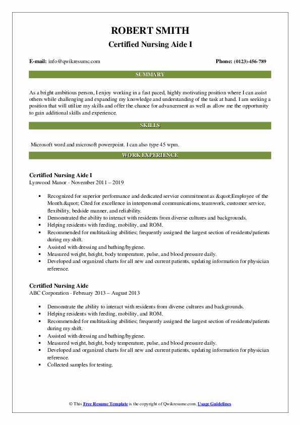Certified Nursing Aide I Resume Template
