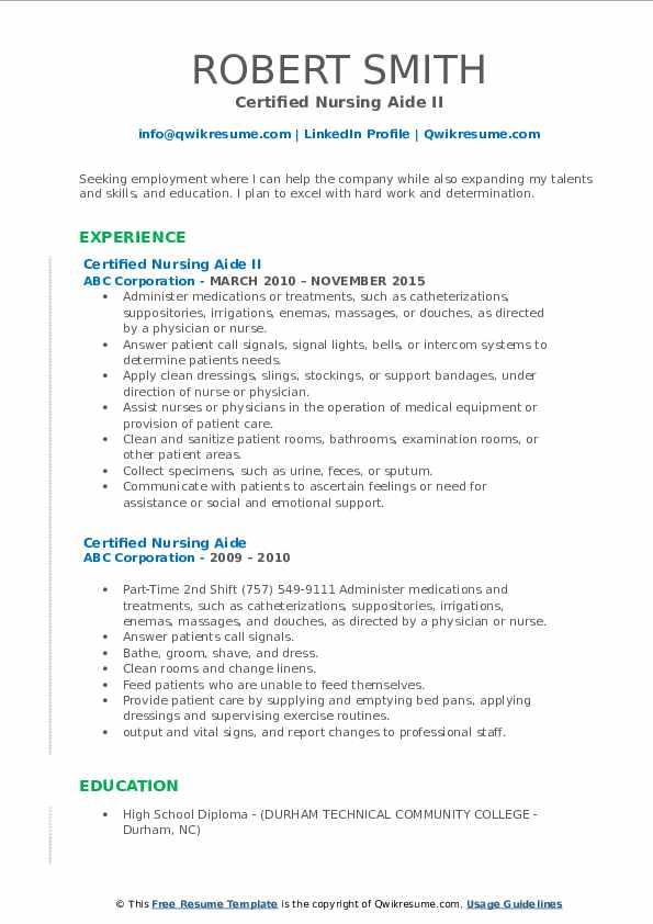 Certified Nursing Aide II Resume Format