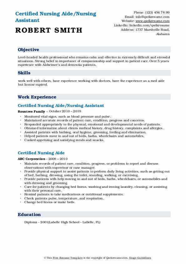 Certified Nursing Aide/Nursing Assistant Resume Model