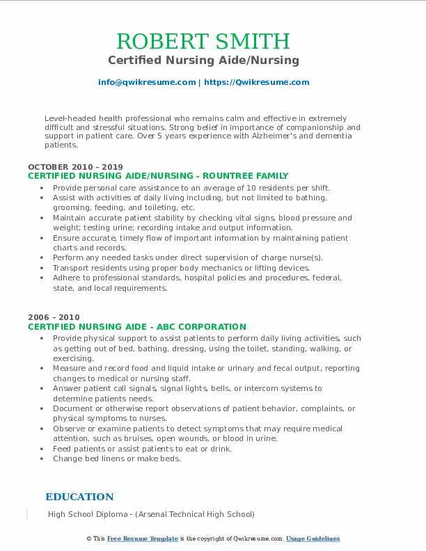 Certified Nursing Aide/Nursing Resume Template