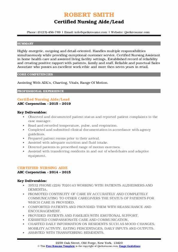 Certified Nursing Aide/Lead Resume Example