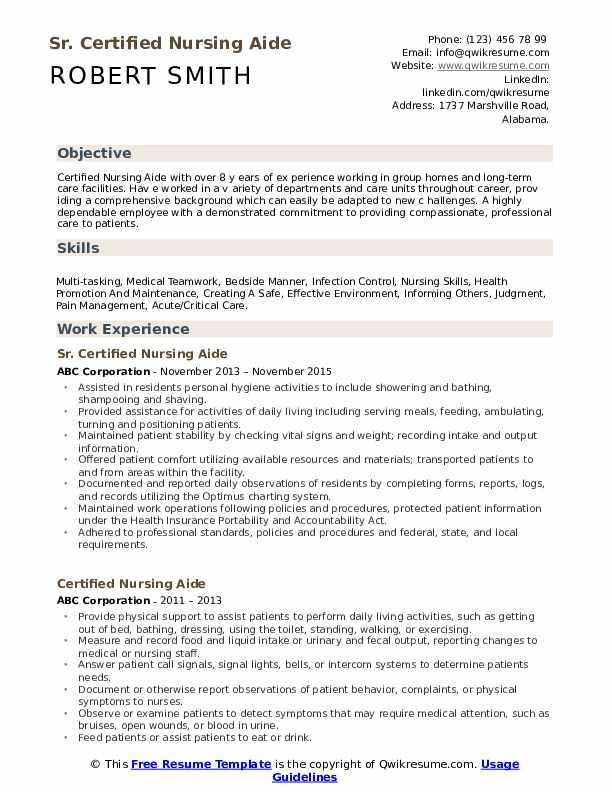 Sr. Certified Nursing Aide Resume Template