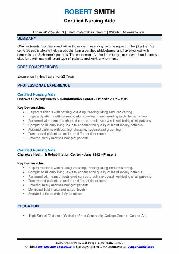 Certified Nursing Aide Resume example