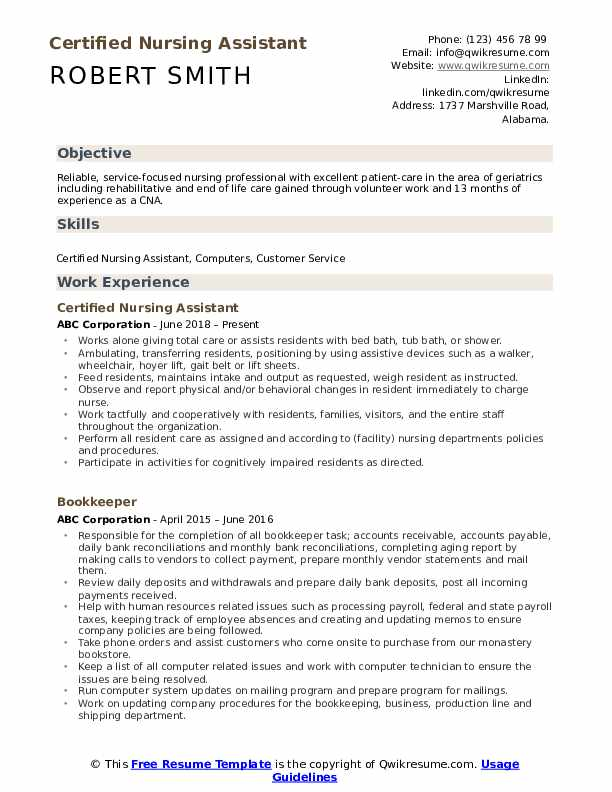 Certified Nursing Assistant Resume Samples Qwikresume