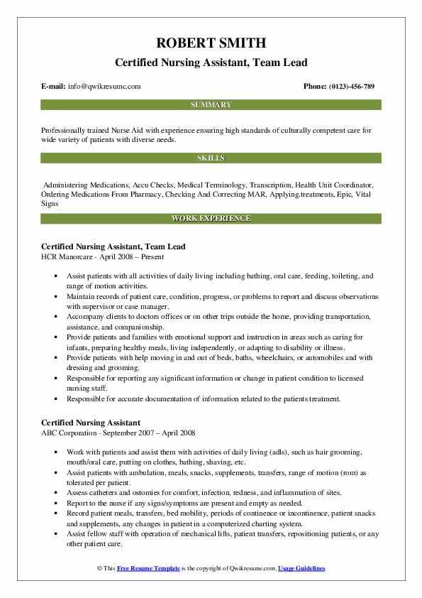 Certified Nursing Assistant, Team Lead Resume Template