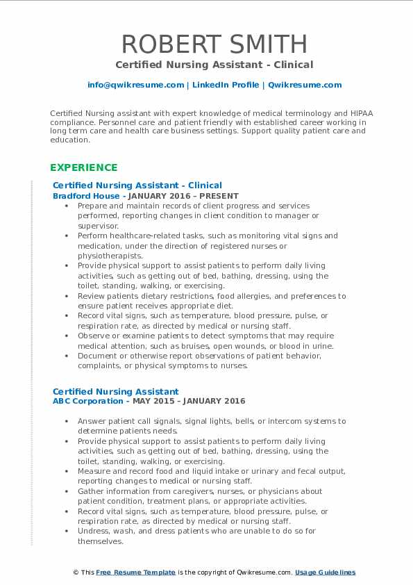 Certified Nursing Assistant - Clinical Resume Example