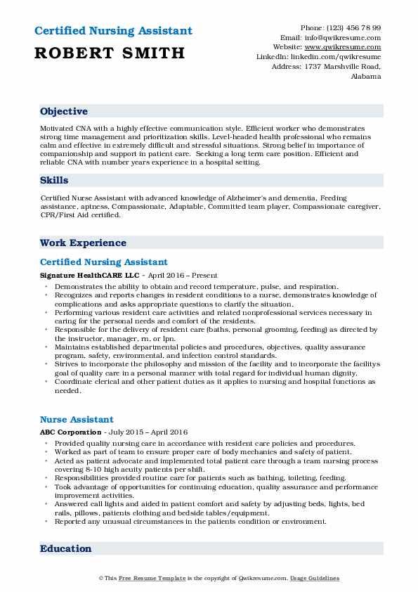 Certified Nursing Assistant Resume Format