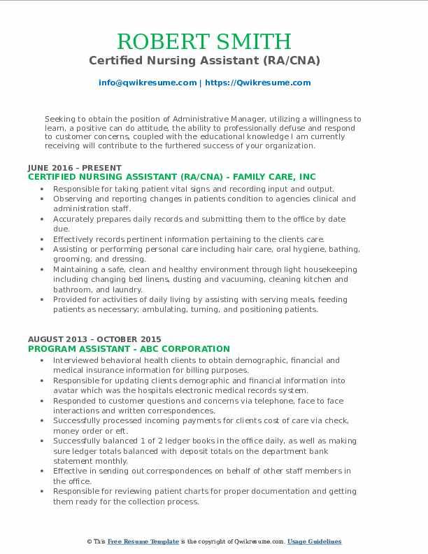 Certified Nursing Assistant (RA/CNA) Resume Format