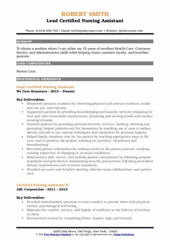 Lead Certified Nursing Assistant Resume Format