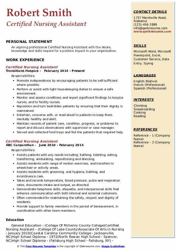 Certified Nursing Assistant Resume Model