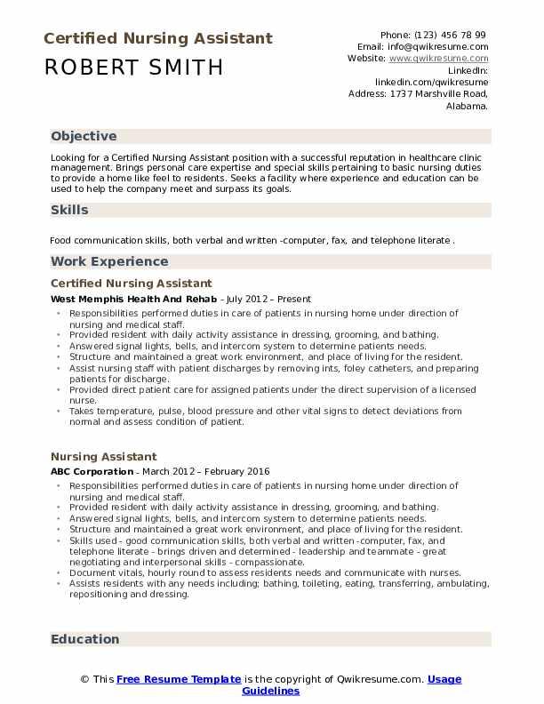 Certified Nursing Assistant Resume Example