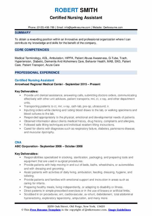 Certified Nursing Assistant Resume example