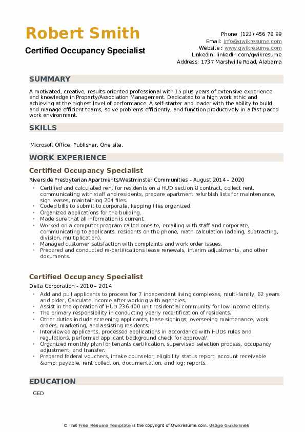 Certified Occupancy Specialist Resume example