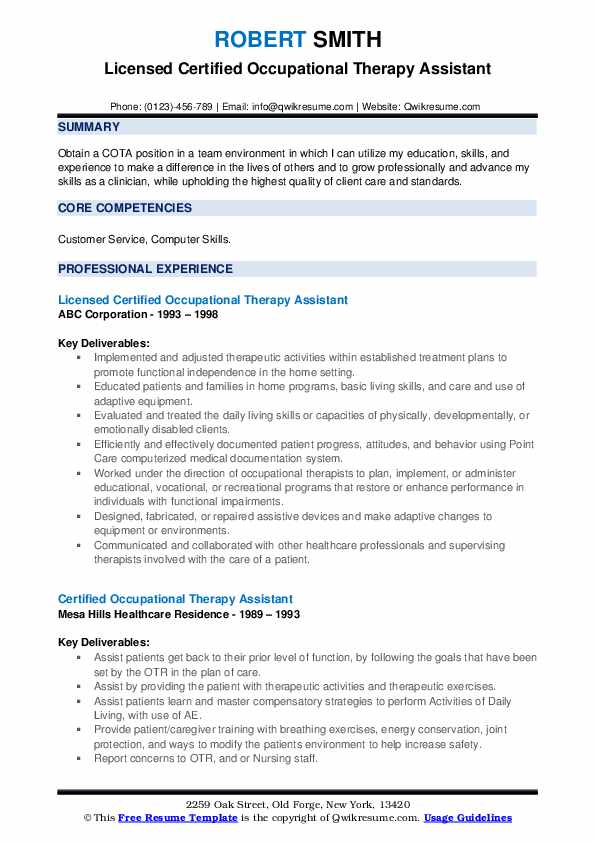Licensed Certified Occupational Therapy Assistant Resume Format