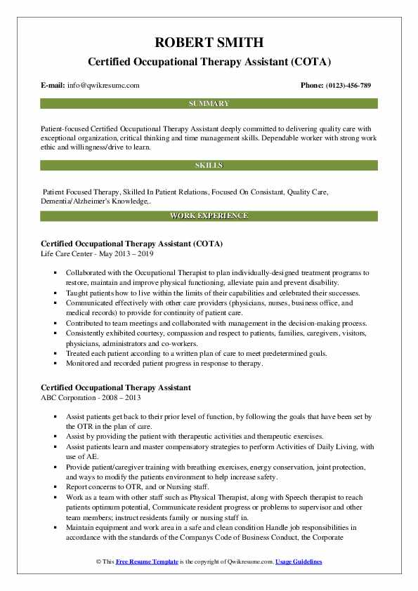 Certified Occupational Therapy Assistant (COTA) Resume Sample