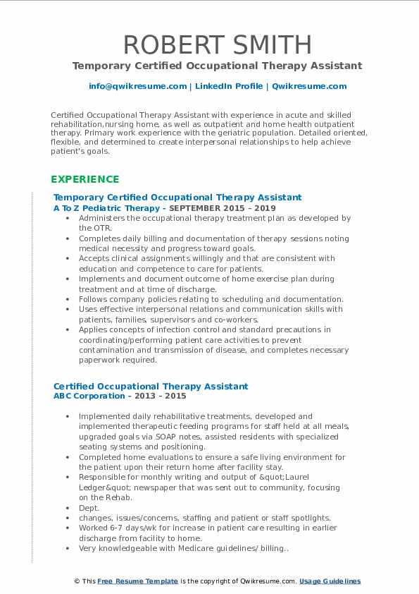 Temporary Certified Occupational Therapy Assistant Resume Sample