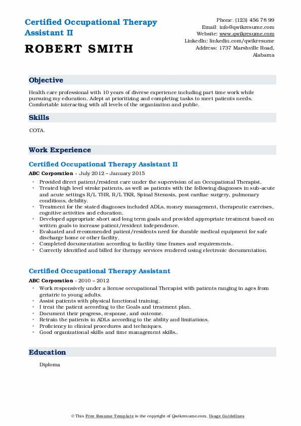 Certified Occupational Therapy Assistant II Resume Template