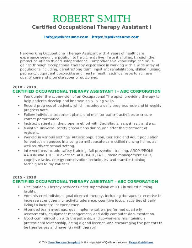 Certified Occupational Therapy Assistant I Resume Template