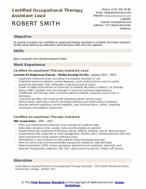 Certified Occupational Therapy Assistant Lead   Resume Example