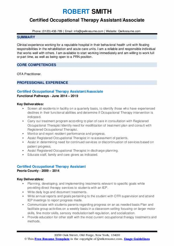 Certified Occupational Therapy Assistant/Associate Resume Format