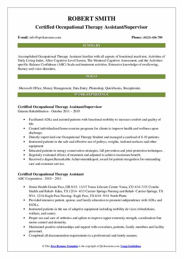 Certified Occupational Therapy Assistant/Supervisor Resume Template