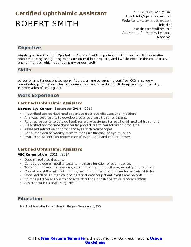 Certified Ophthalmic Assistant Resume Example