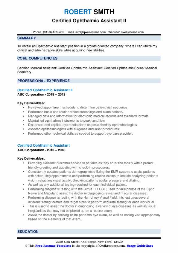 Certified Ophthalmic Assistant II Resume Format