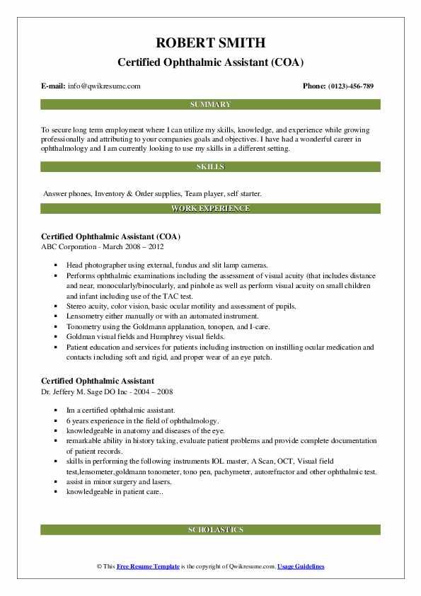 Certified Ophthalmic Assistant Resume Samples | QwikResume