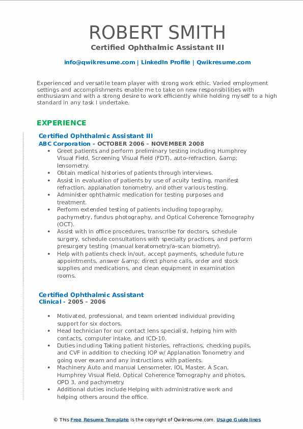 Certified Ophthalmic Assistant III Resume Format