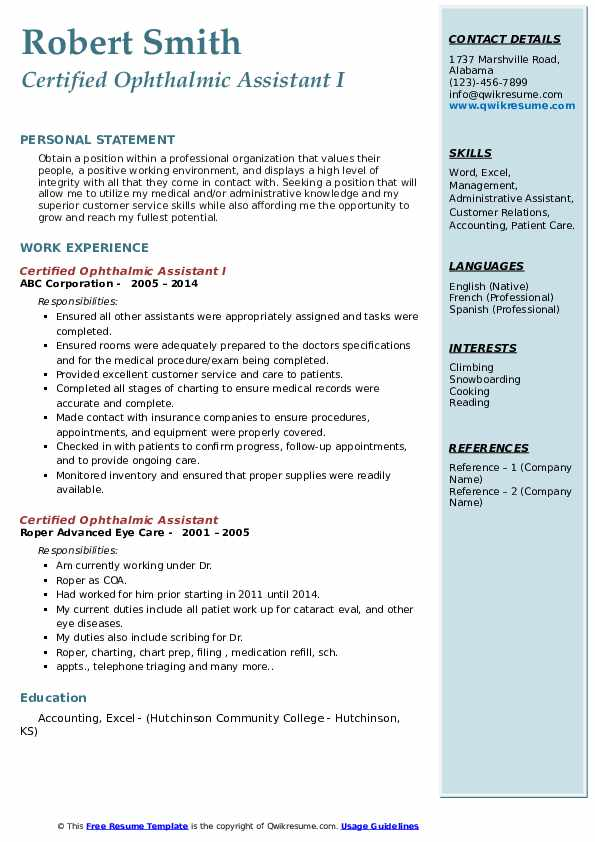 Certified Ophthalmic Assistant I Resume Model