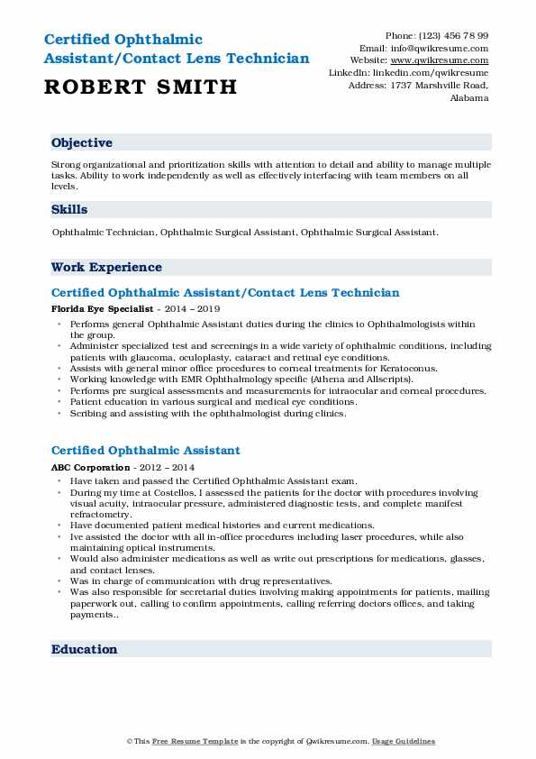 Certified Ophthalmic Assistant/Contact Lens Technician Resume Format