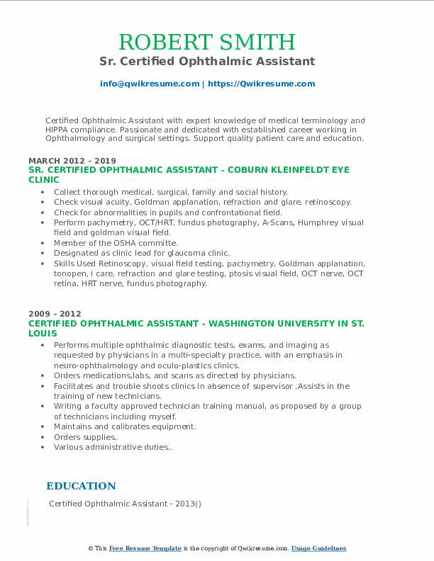 Sr. Certified Ophthalmic Assistant Resume Template