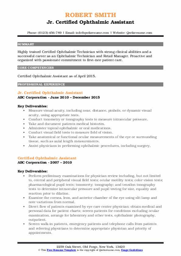 Jr. Certified Ophthalmic Assistant Resume Sample