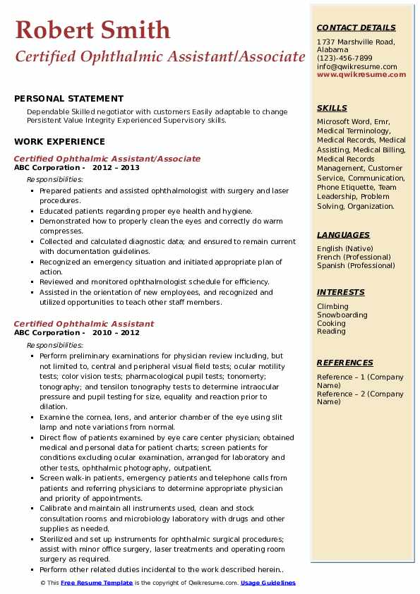 Certified Ophthalmic Assistant/Associate Resume Template