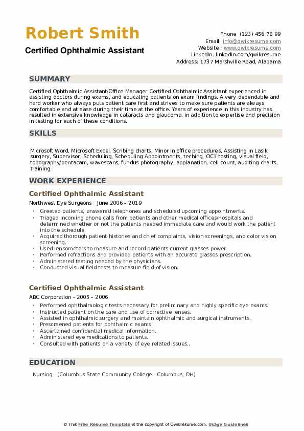 Certified Ophthalmic Assistant Resume Samples Qwikresume