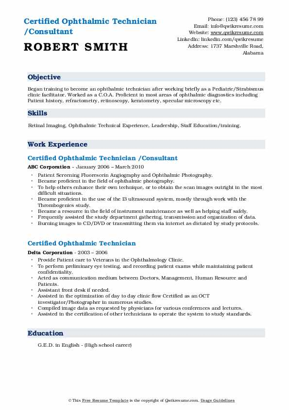 certified ophthalmic technician resume samples  qwikresume